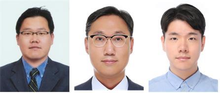 국립 한밭대학교 신소재공학과 정중희 교수(왼쪽), 이상엽 교수(가운데), 장지성 대학원생(오른쪽)